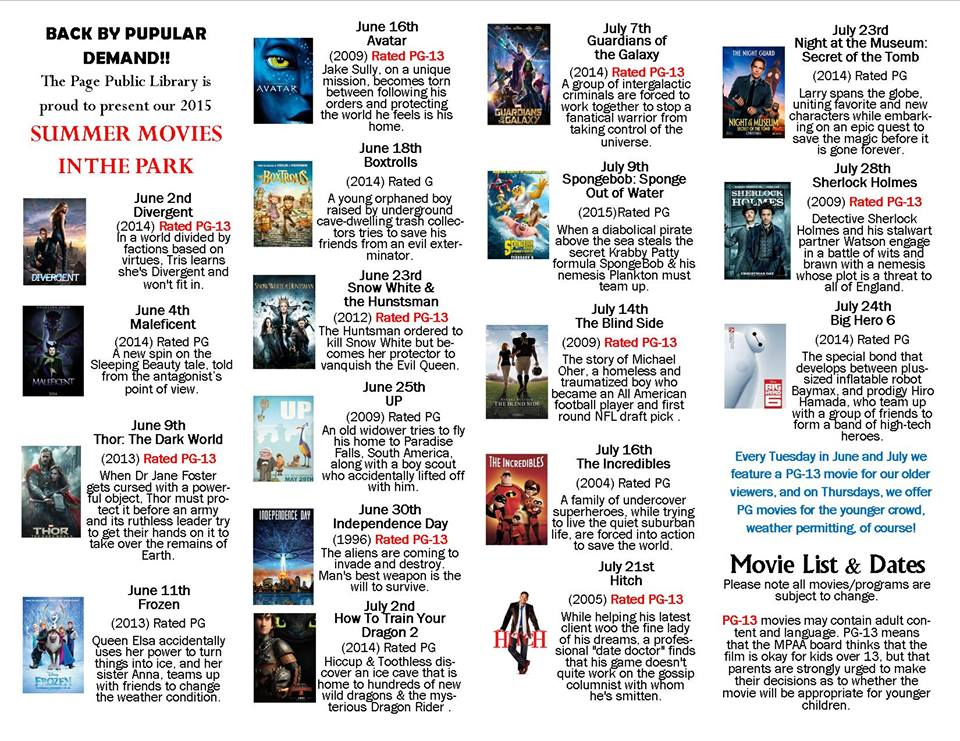 Printable list of Page Movies in the Park